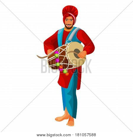 Punjabi bhangra drummer in national cloth vector illustration isolated on white. Man dressed in Kurta silk shirt and Pag turban, sign of pride. Tehmat or chadar, a loose loincloth tied around waist