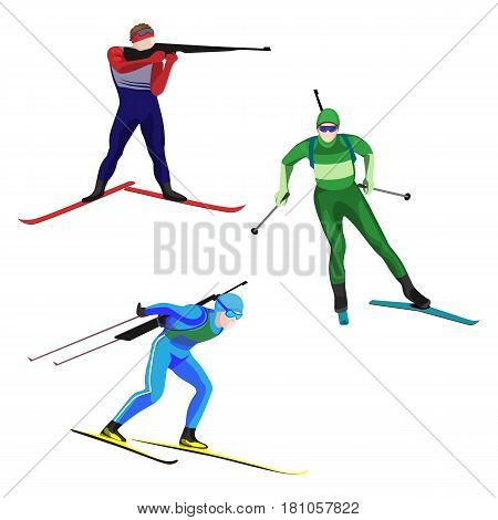 Biathlonists set on skis vector illustration isolated on white. Athlete with small-bore rifle shoots into target, racing down and concentrated on skiing. Sportsman at biathlon competition