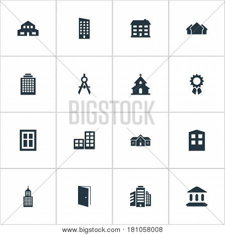 Vector Illustration Set Of Simple Structure Icons. Elements School, Reward, Gate And Other Synonyms Apartment, Religious And Edifice.