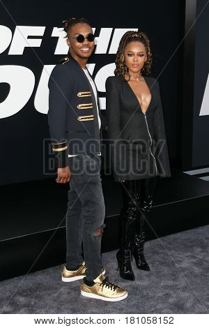 "NEW YORK-APR 8: Musician Ohana Bam (L) and actress Serayah McNeill attend the premiere of ""The Fate of the Furious"" at Radio City Music Hall on April 8, 2017 in New York City."
