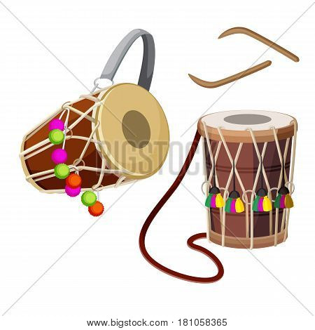 Dhol types of double-headed drum and wooden sticks vector illustration isolated on white. Two sided barrel drum played as accompanying device in regional music form in Indian culture