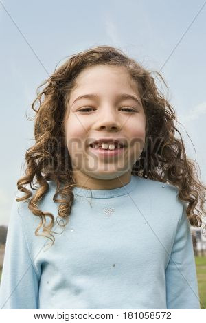 Mixed Race girl with curly hair