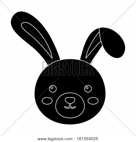 Grey rabbit with long ears. Easter single icon in black style vector symbol stock web illustration.