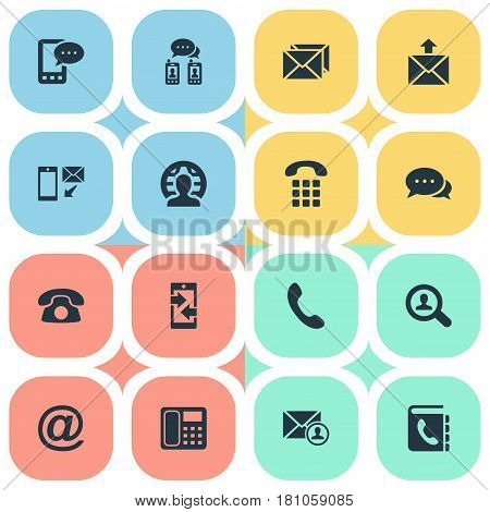 Vector Illustration Set Of Simple Connect Icons. Elements House Phone, Telephone, International Job And Other Synonyms Postal, Cellular And Intercommunication.