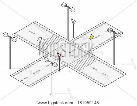 Road, street traffic, info graphic, junction crossway, white background. Outlined illustration of crossroads main, side road. Pictogram of city situation set for driving school. Isolated master vector