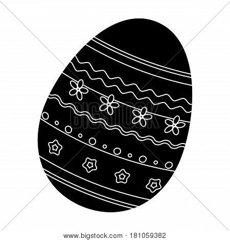 Dyed patterns egg for Easter. Easter single icon in black style vector symbol stock web illustration.