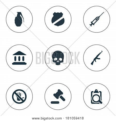 Vector Illustration Set Of Simple Offense Icons. Elements Judicial House, Vaccine, File And Other Synonyms Bone, Skeleton And Inoculation.