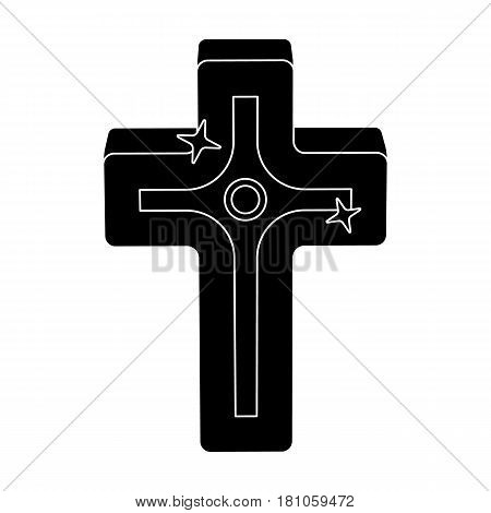 Golden cross. Easter single icon in black style vector symbol stock web illustration.