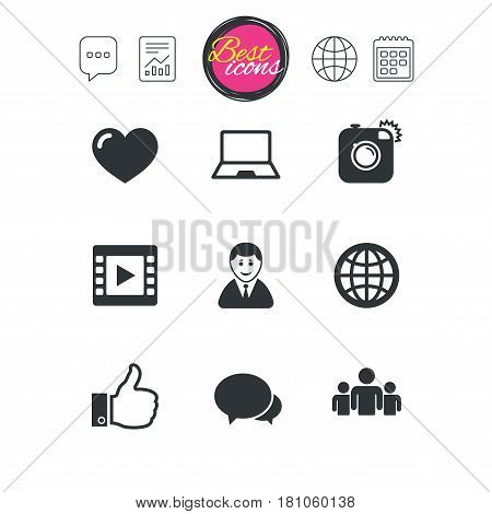 Chat speech bubble, report and calendar signs. Social media icons. Video, share and chat signs. Human, photo camera and like symbols. Classic simple flat web icons. Vector
