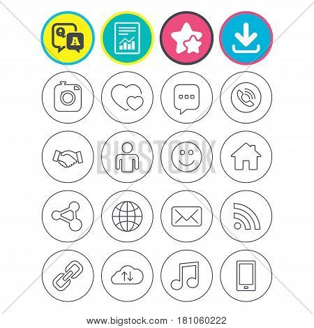 Report, download and star signs. Social media icons. Speech bubble, lovers relationships and human person. Rss, share and mail envelope. Musical note, smartphone and smile. Vector