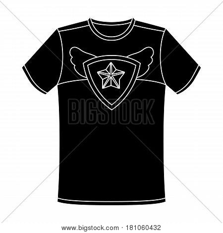 T-shirt fan with print.Fans single icon in black  vector symbol stock illustration.