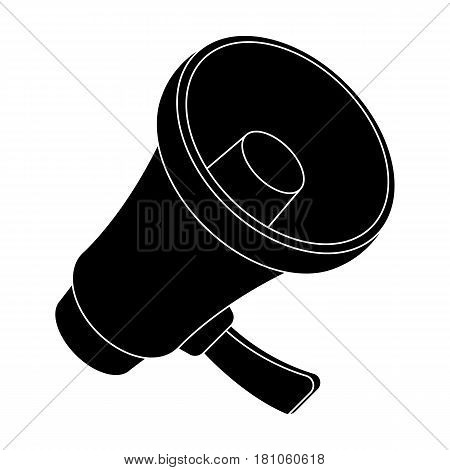A football fan shout.Fans single icon in black  vector symbol stock illustration.