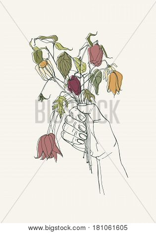 withered flowers in her hand, gone feeling concept. Hand drawn illustrations.