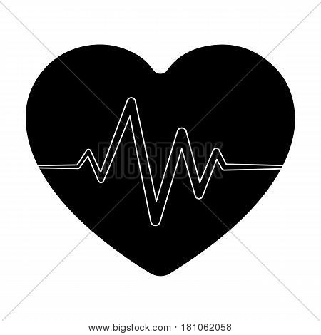 Red heart with pulse.The heart rate of the athlete .Gym And Workout single icon in black style vector symbol stock web illustration.