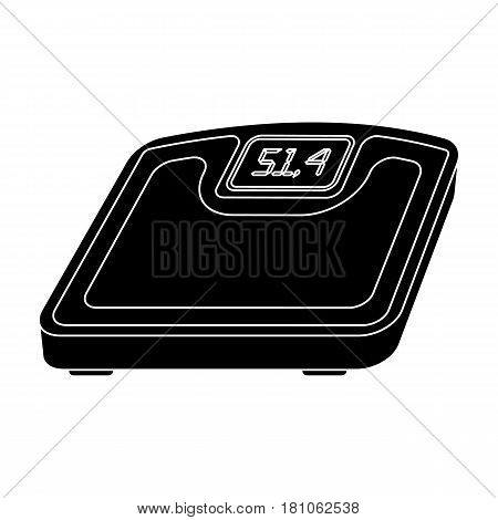 The scales in the gym for the weighing.Gym And Workout single icon in black style vector symbol stock web illustration.