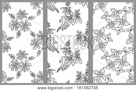 Vector Set Of Floral Illustration. Black And White Seamless Patterns With Bouquet With Flowers, Leav