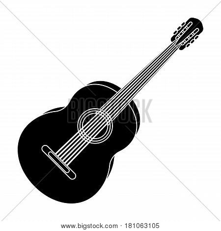 Yellow guitar.Hippy single icon in black style vector symbol stock illustration .