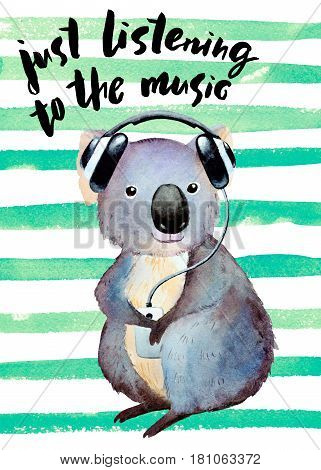 Watercolor koala with headphones on striped background and inscription