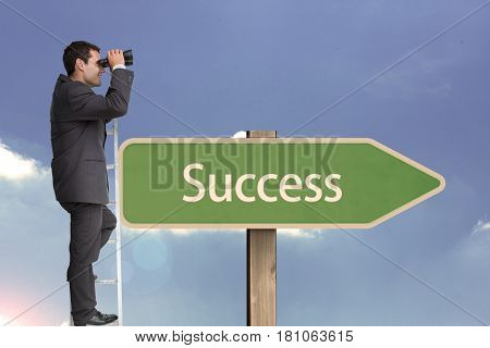 Digital composite of Side view of businessman using binoculars while standing on ladder by succees text on sign board aga