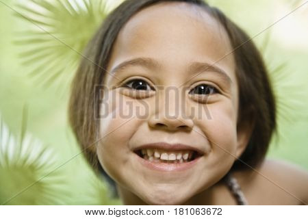 Close up of Asian girl smiling