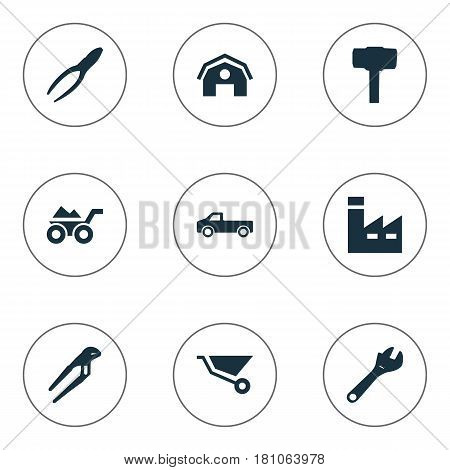 Vector Illustration Set Of Simple Wrench Icons. Elements Clipping Tool, Cart, Spanner And Other Synonyms Transportation, Hangar And Adjustable.