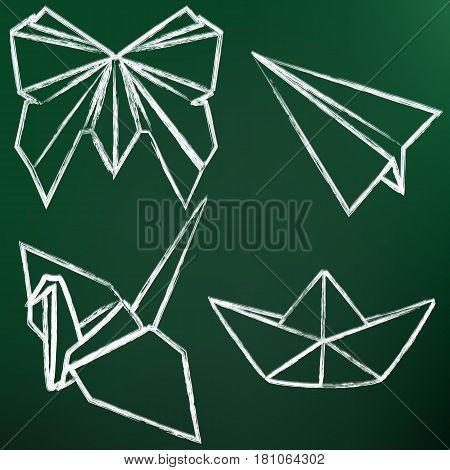 Vector Set Of Chalk Origami Art. Butterfly, Plane, Crane, Ship.