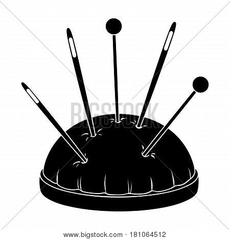 Pillow for needles.Sewing or tailoring tools kit single icon in black style vector symbol stock web illustration.