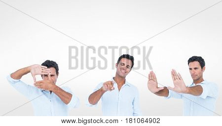 Digital composite of Multiple image of man gesturing over white background