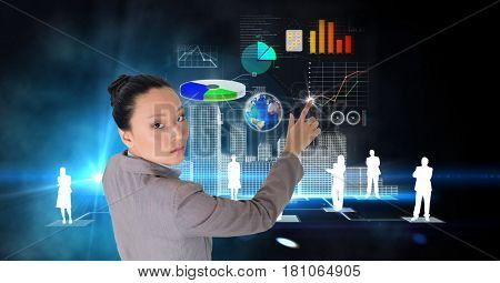 Digital composite of Digital composite image of confident businesswoman making plans on futuristic screen