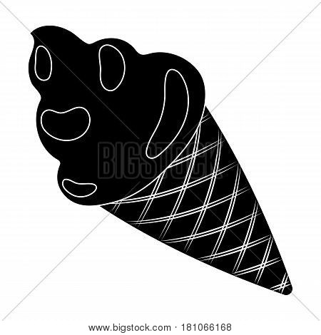 Pink ice cream in a waffle cup.Party and parties single icon in black style vector symbol stock web illustration.