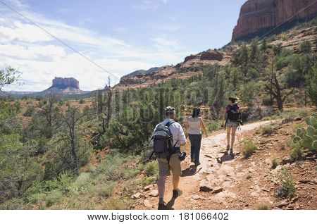 Multi-ethnic people hiking in desert