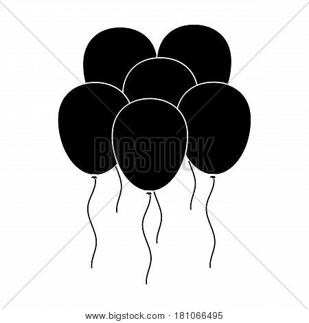 Multicolored inable balls.Party and parties single icon in black style vector symbol stock web illustration.
