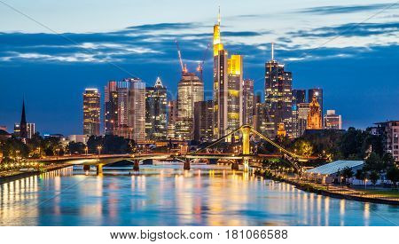 Beautiful View Of Frankfurt Am Main Skyline At Dusk, Germany