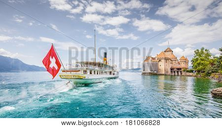 Paddle Steamer With Famous Chateau De Chillon At Lake Geneva, Canton Of Vaud, Switzerland