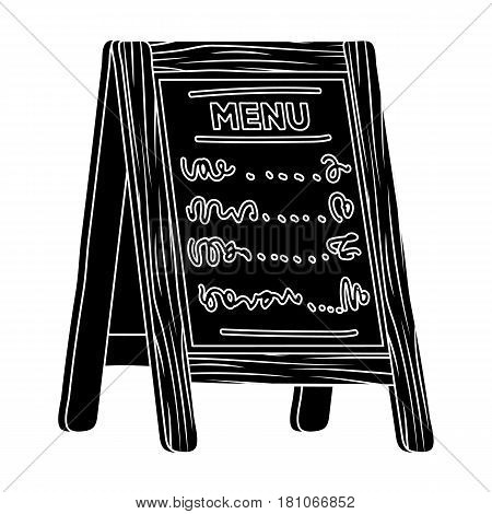 Street bar menu.A sign with the tasty dishes in the street. Pub single icon in black style vector symbol stock web illustration.