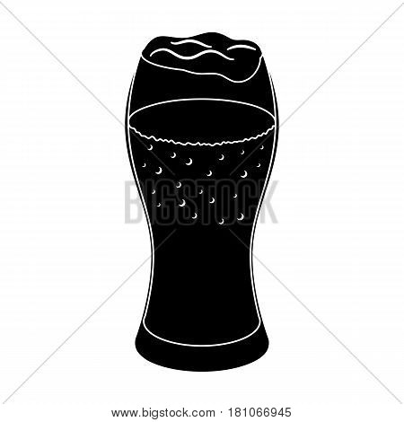 A glass of wheat beer with foam.Alcoholic beverage to relax. Pub single icon in black style vector symbol stock web illustration.