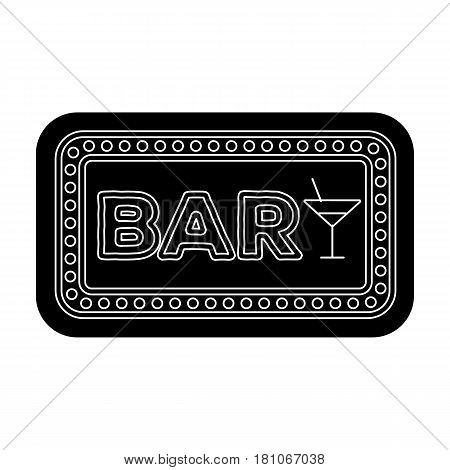 Advertising bar. The sign in front of the bar with pink lettering. Pub single icon in black style vector symbol stock web illustration.