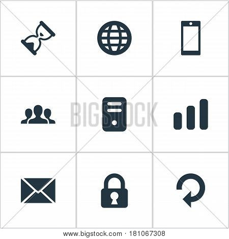 Vector Illustration Set Of Simple Application Icons. Elements Sand Timer, Web, Computer Case Synonyms Globe, Cooperation And Hourglass.