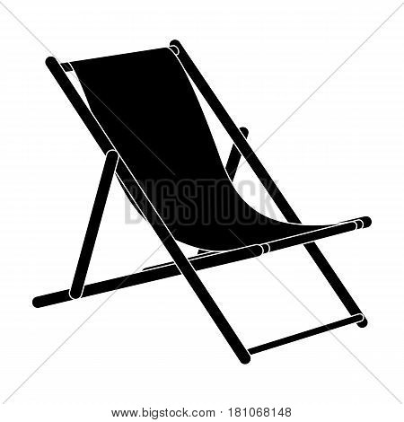 The seat for sunbathing on the beach.Summer rest single icon in black style vector symbol stock web illustration.