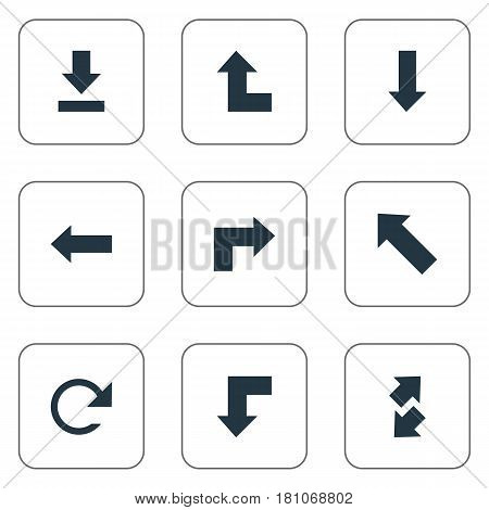 Vector Illustration Set Of Simple Pointer Icons. Elements Pointer, Right Leading Arrow, Pointer Up And Other Synonyms Direction, Decline And Up.