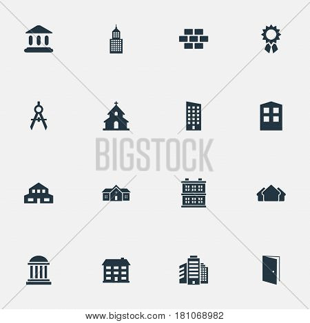 Vector Illustration Set Of Simple Architecture Icons. Elements Popish, Stone, Residential And Other Synonyms Domicile, Residential And Scale.