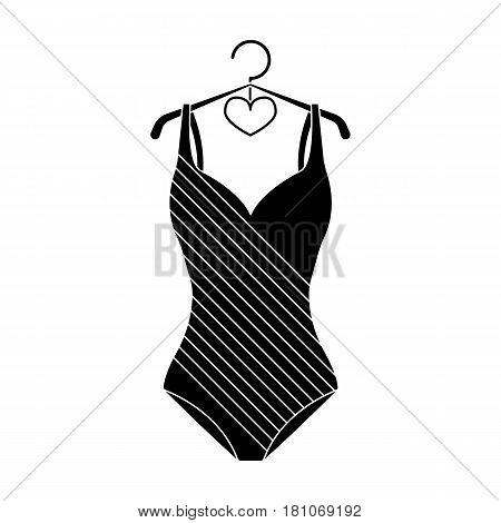 Blue women stripe swimsuit. Clothes for swimming.Swimcuits single icon in black style vector symbol stock web illustration.