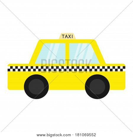 Taxi car cab icon. Cartoon transportation collection. Yellow taxicab. Checker line light sign. New York symbol. Isolated. White background. Vector illustration