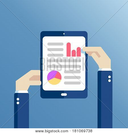 Hands holding tablet with statistical data presented in the form of digital graphs and charts. Concept financial analysis statistics. Vector illustration flat design