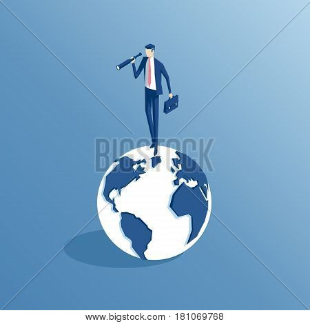 Businessman standing on Earth and looking through a telescope isometric illustration. Business concept find the opportunity in the world