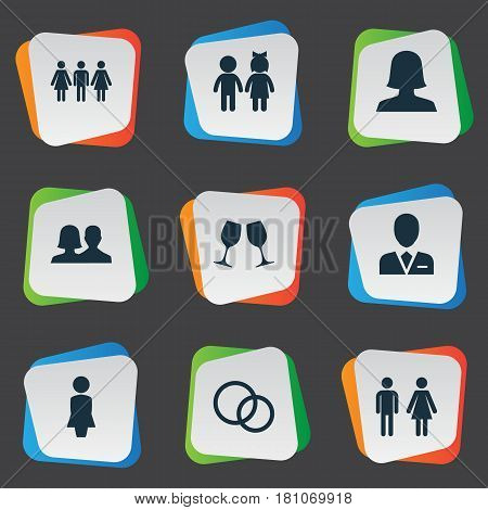 Vector Illustration Set Of Simple Lovers Icons. Elements Alternative, Double, Wineglass And Other Synonyms Mother, Madame And Couple.