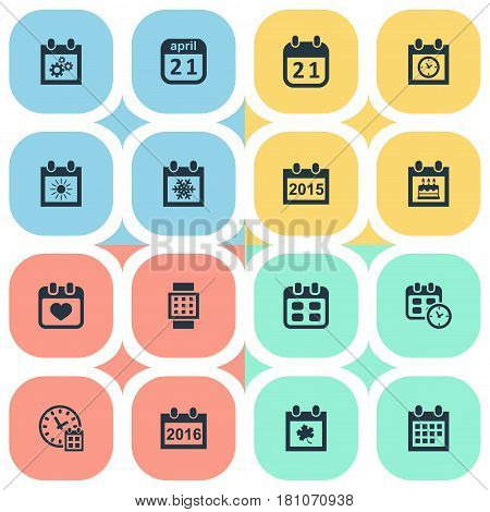 Vector Illustration Set Of Simple Time Icons. Elements Leaf, Agenda, Annual And Other Synonyms Snowflake, Watch And Wheel.