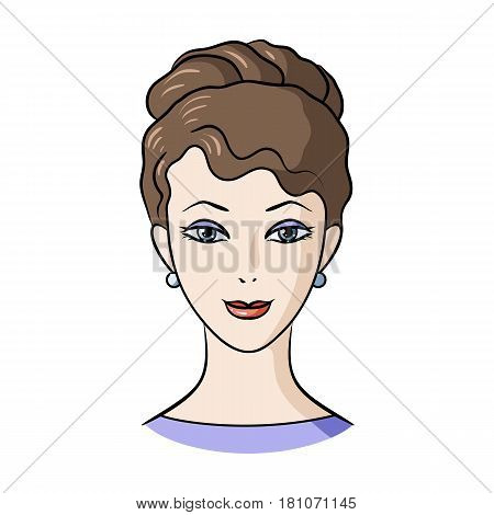 Avatar of a girl with brown hair.Avatar and face single icon in cartoon style vector symbol stock web illustration.