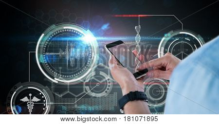 Digital composite of Digital composite image of doctor using smart phone against medical screen