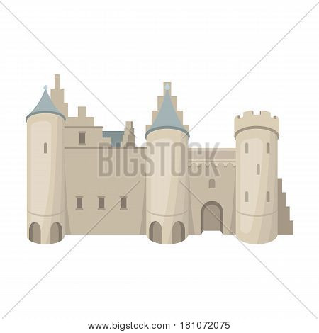 Protective Castle of belgium.The dark Belgian wolf. Belgium single icon in cartoon style vector symbol stock web illustration.